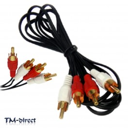 Twin RCA Male Phono Plug to 2 x RCA Audio 1 1.2 1.5 1.8 2 2.5 3 5 M Cable Lead - 150915275282 - T - 32834