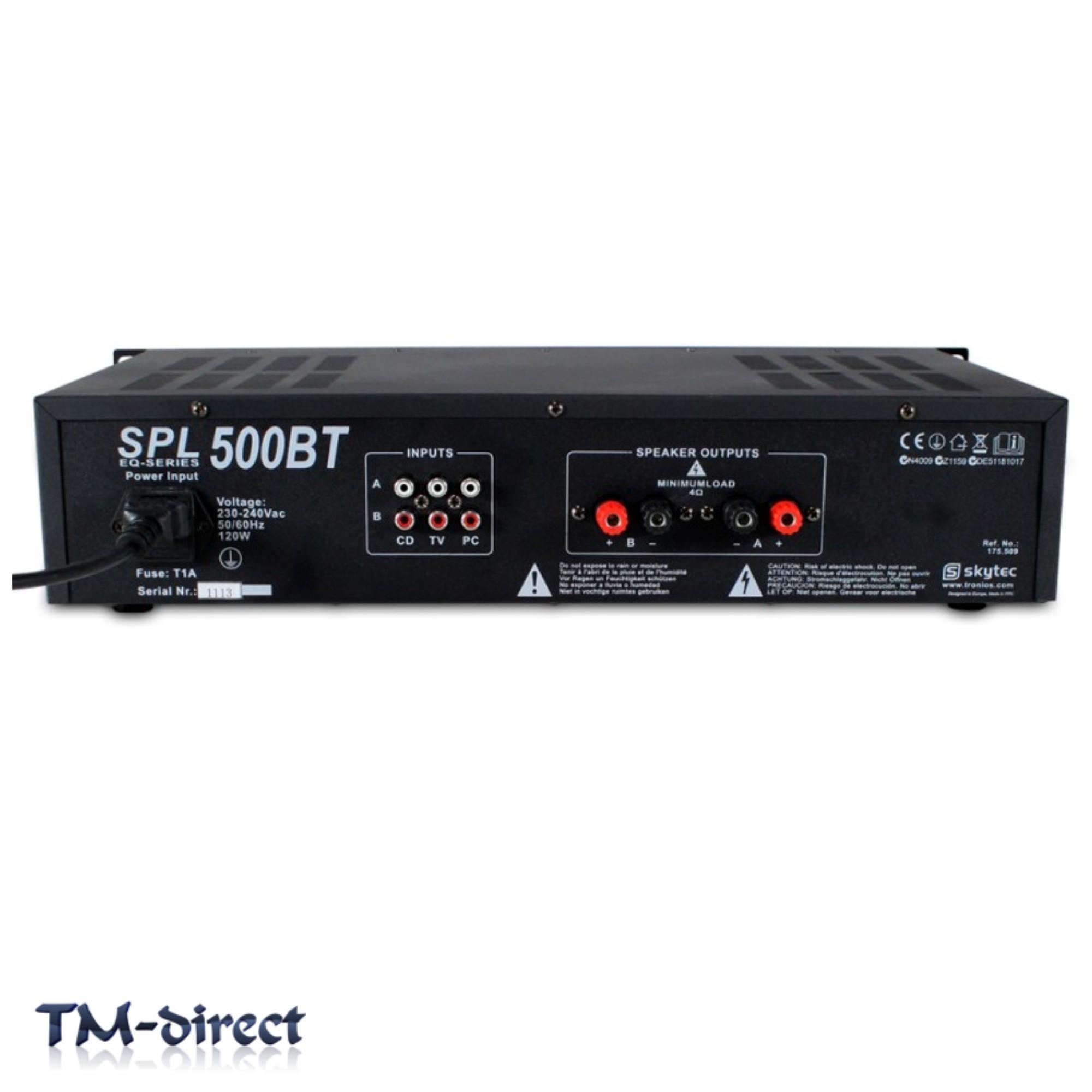Skytec SPL-500BT Bluetooth Home Audio Amplifier House Party Hi-Fi EQ ...