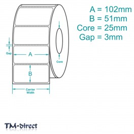 102mm x 51mm WHITE Direct Thermal Labels 1000 per Roll for Zebra Type Printer