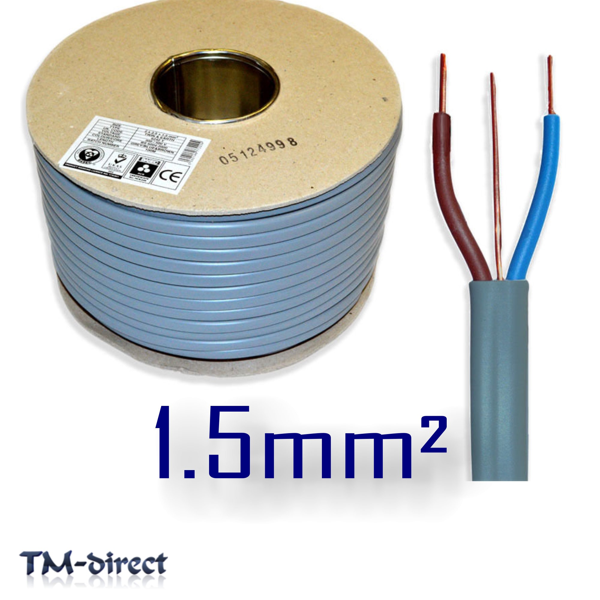 1.5mm sq 6242Y Grey 3 Core 2 and Earth Wire BASEC Electric Cable T&E