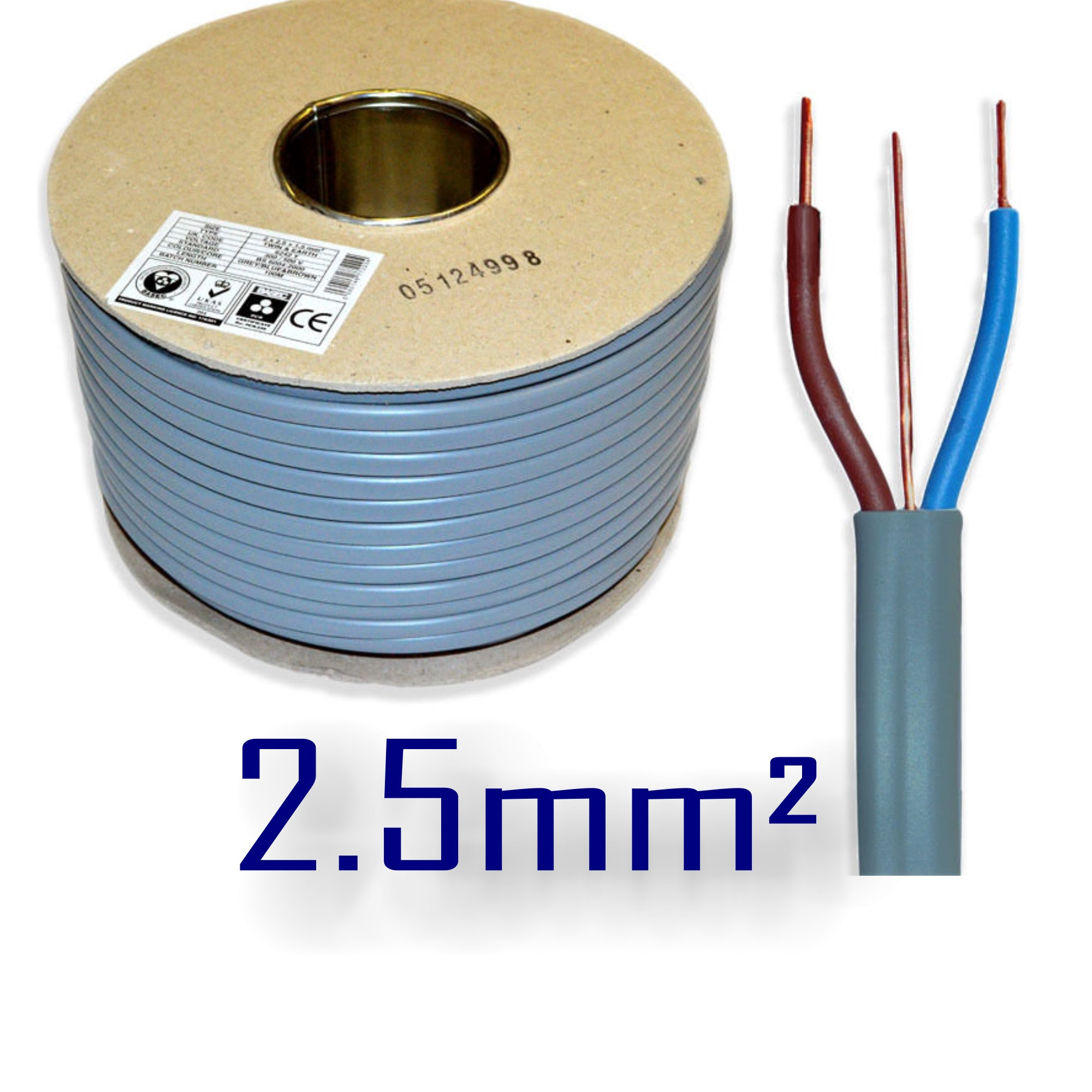 2.5mm sq 6242Y Grey 3 Core 2 and Earth Wire BASEC Electric Cable T&E