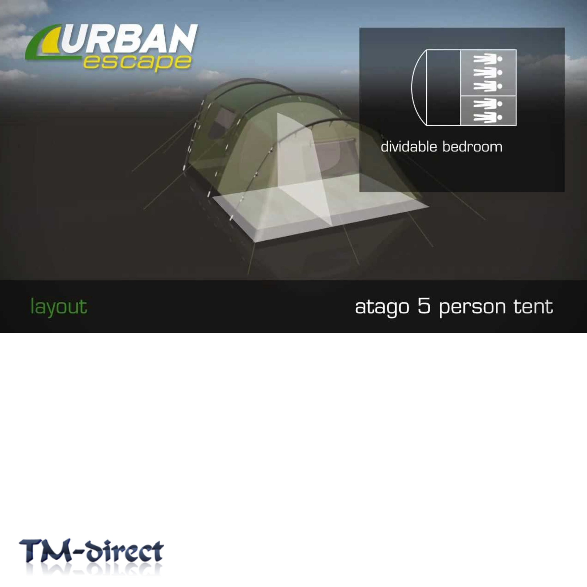 ... Urban Escape Atago 5 Person Berth Tent Green Tunnel 2 Sleeping Areas Double Skin ...  sc 1 st  TM-direct LTD & Urban Escape Atago 5 Person Berth Tent Green Tunnel 2 Area Double Skin