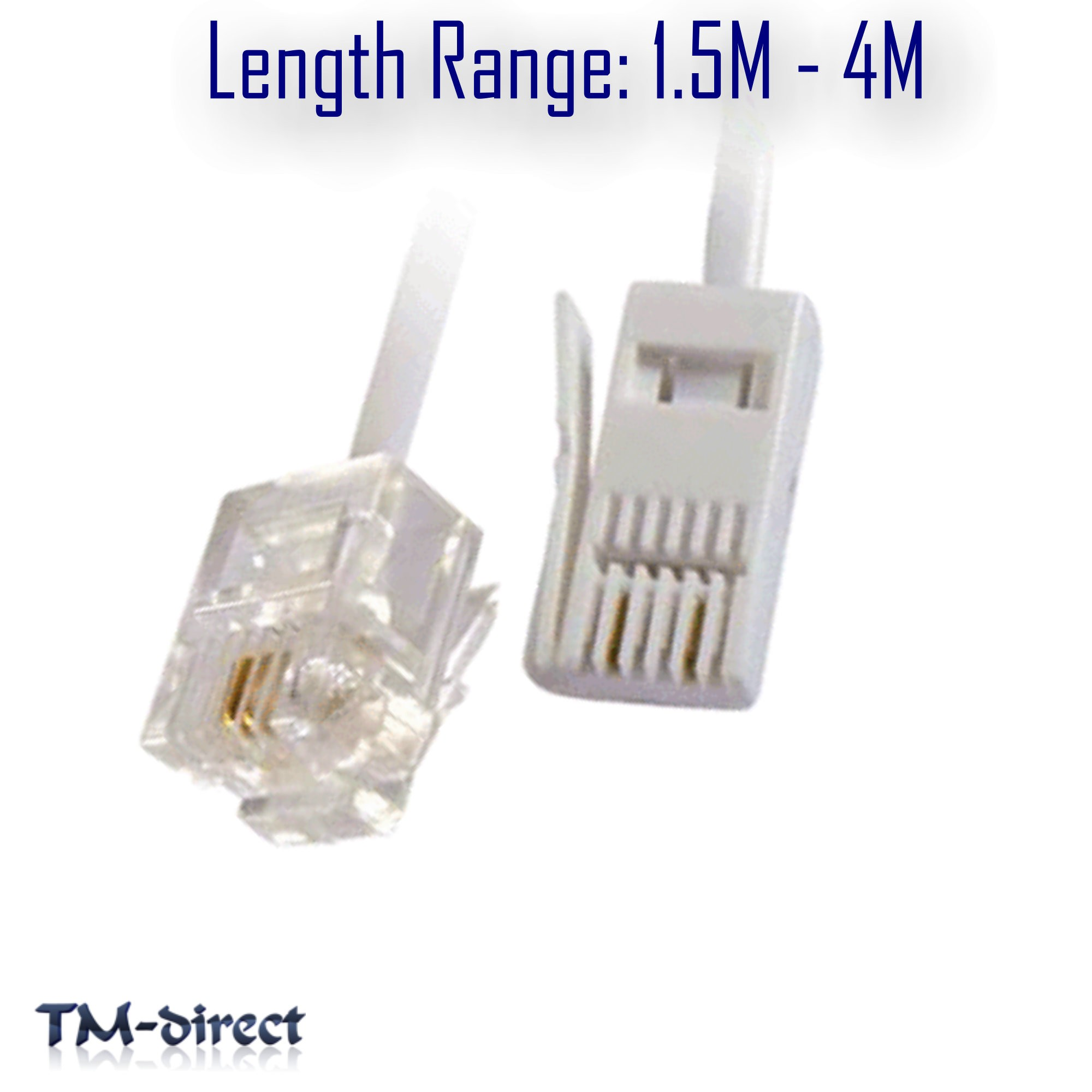 RJ11 to BT Socket 2 Pin Cable Modem FAX Telephone Phone Plug Straight