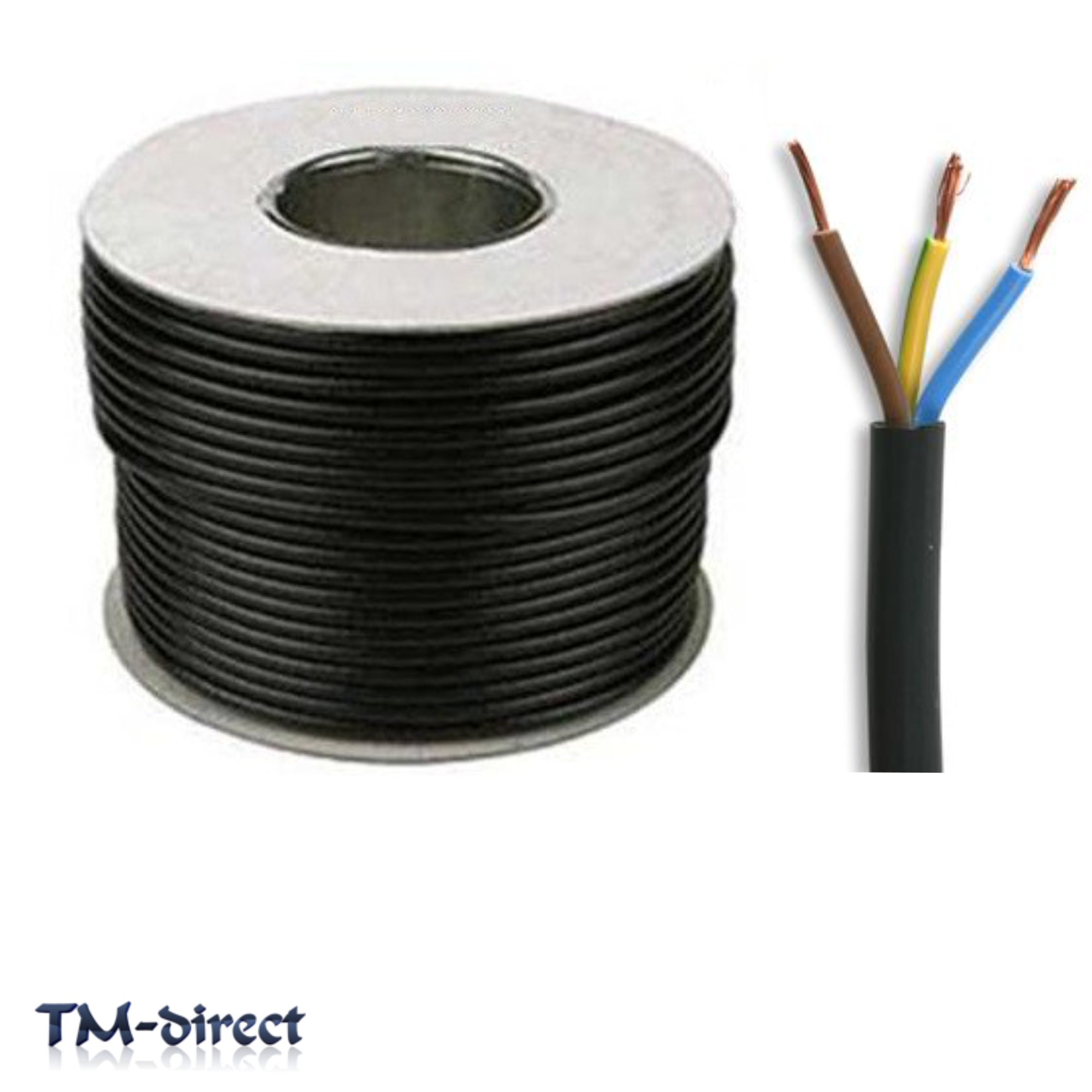 3183Y 3 Core 0.75mm Round Black Electric Cable Flex Wire BY THE METER