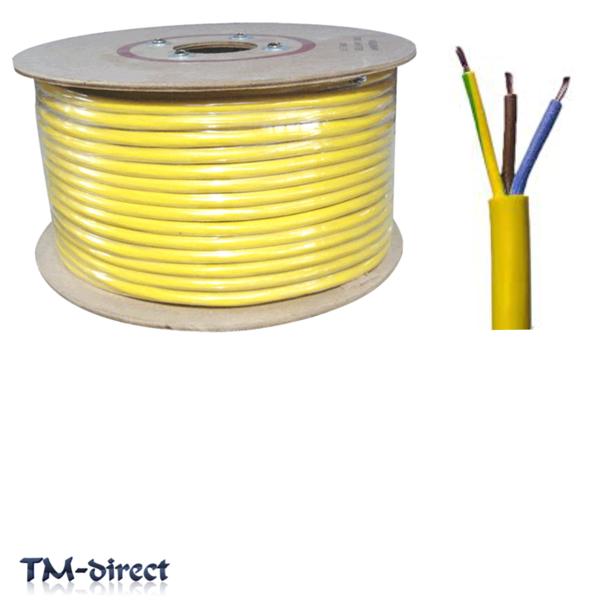 3 Core Wire : Y core mm round arctic yellow cable flex wire by