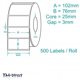 102mm x 76mm WHITE Direct Thermal Labels 500 per Roll for Zebra Type Printer
