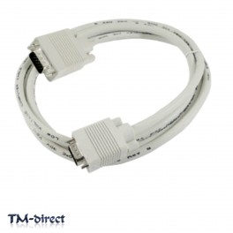 25M SVGA VGA 15 Pin Male PC Laptop to Monitor TV TFT LCD HD15 White Cable Lead