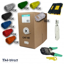 305M CAT6e Roll Plugs Boots Crimp Punch Tester Tool Network Kit RJ45 LAN Cable - 110959730081 - T - 64035