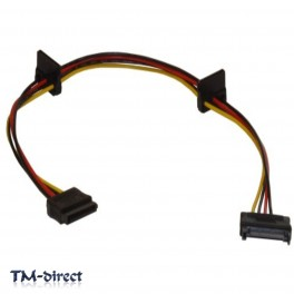 SATA 15 Pin Male to 3 way Female Power Splitter Cable - 110665344655 - T - 45342
